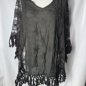 Sweaters - Black Embroidered/Lace w/ Fringe Poncho - S/M